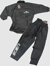 KIDS IKON MUD JACKET PANT WATERPROOF RAIN SUIT COAT TROUSERS BLACK motocross bmx