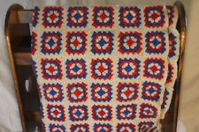 "Vintage Homemade Afghan Blanket Red White Blue 62"" x 60"" American Hand Made"