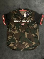 Ralph Lauren Polo Sport Mens Medium Performance Mesh Shirt V-Neck Camo Green New