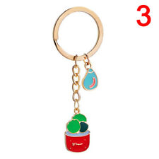 Enamel Potted Plant Cactus Pattern KeyRing Purse Keychain Pendant Accessories LJ