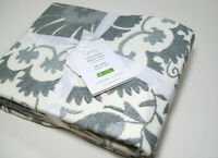 Pottery Barn Gray Tula Suzani Cotton Full Queen Duvet Cover New