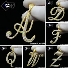 MEN 925 STERLING SILVER ICY DIAMOND BLING GOLD 26 INITIAL LETTERS PENDANT*GP220