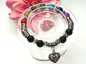 Chakra Edelstein Armband Lava Perlen elastisch Stretch Herz des Lebens Ø 8 mm