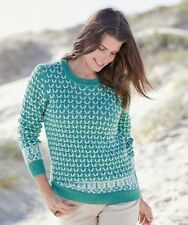 Damart Jacquard Crew Neck Sweater Dark Celadon Green Size UK 10/12 LF083 CC 20