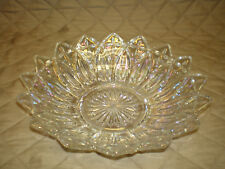 Vtg Clear Iridescent Carnival Glass 10 Inch Large Serving Bowl - Sunburst