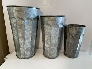 Nesting Galvanized Fluted Vases Set French Flower Bucket Farmhouse Metal Country