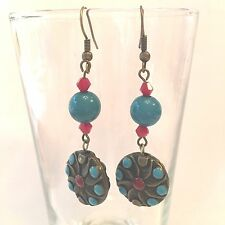UNUSUAL BRASS BEADS W/ENAMEL TURQUOISE & RED DESIGN EARRINGS & ACCENT BEADS #5
