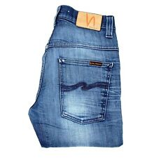 "NUDIE JEANS Thin Finn Org. Strikey Used Slim Blue men Jeans Size 31 (inseam 30"")"