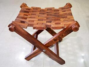 Hand Made India Wooden Mesh Folding Stool footrests and ottomans Footstool