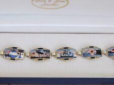 Sterling Silver 925 Norway Scenic Guilloche enamel bracelet by Aksel Holmsen