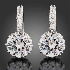 Real 18K White Gold plated Earrings Gp Swarovski Zircon Valentine Birthday Gift