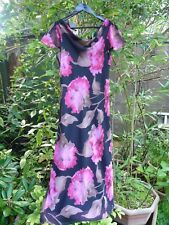 KALEIDOSCOPE BLACK PINK BROWN LARGE FLORAL COWL NECK DRESS-SIZE 14 - LOW BACK