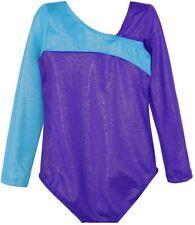 Gymnastics Leotards 150 for Girls 9-10 Long Sleeve Purple Blue Shiny Unitards