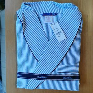 Brooks Brothers Men's Seersucker Cotton Traditional Fit Striped Bath Robe Small