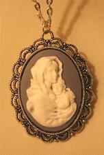 Pretty Silvertn Bluish-Gray & White Madonna Mary Christ Cameo Pendant Necklace
