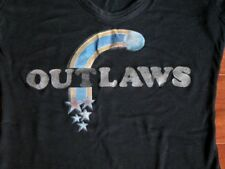 Rare Vtg 70s OUTLAWS Southern Rock Band Black T Shirt Wms S-M Ghost Riders