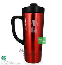 SS093 16oz starbucks stainless steel xmas red handle charcoal clip tumbler