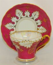 CASTLE JAPAN IRIDESCENT PEARL/GOLD & RED RASPBERRY COLORED CUP & SAUCER