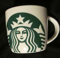 Starbucks Coffee Mug Green Siren Mermaid Ceramic White Barrel Cup 14 oz 2017 EUC
