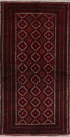 3x7 Balouch Afghan All-Over Oriental Runner Rug Wool Handmade Home Decor Carpet