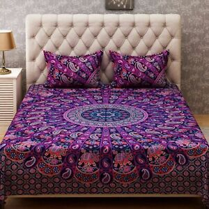 Indian Rajasthani Ghoomar Cotton Bed Cover Queen Size Bed Sheet With Tow Pillow