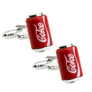 COKE CAN CUFFLINKS Cola Drink Soda Pop Novelty Party Red Enamel NEW w Gift Bag