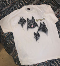 Vintage Schipperke Dog T Shirt 80s 90s Classic Portrait Graphic Animal Art sz Xl