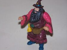 """Pvc Wizard 3"""" moveable arms blue boots long black beard hat w/moon blue eyes"""