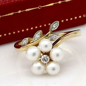 Vintage Pearl & White Sapphire Flower Ring 10k Yellow Gold & 10k White Gold