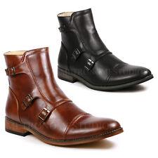 Men's Cap Toe Triple Monk Strap Formal Dress Casual Ankle Boots
