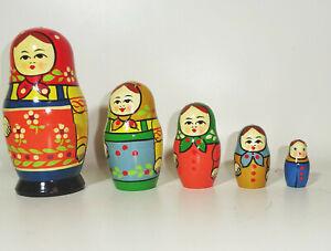 Old Russian Matryoshka Матрёшка USSR Wood Doll 5teilig Decor Vintage (Nr.1