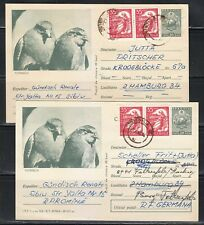 Romania 1965 two postcards to West Germany  with Grey Partridges 48000 issue !
