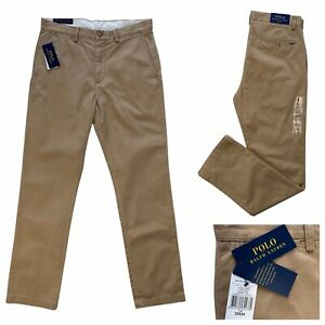 POLO Ralph Lauren Tan Classic Fit Suffield Denim Chino Trousers Size 32 NEW £100