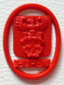 Eupen, WHW Kunststoffbzeichen, Rückseite glatt, 30 x 38 mm