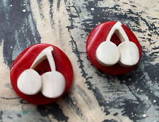 TWO VINTAGE RED AND WHITE CHERRY 🍒 BAKELITE BUTTONS. 22mm