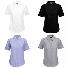 Women's Collared No Pattern Cotton Blend Tops & Shirts