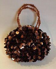 Bronze Brown Large Sequins Evening Bag Purse Handbag Satin Lining Beaded Handle