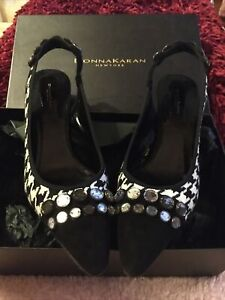 Donna Karan New York Black/white Check Shoes Size 5 Stunning Only Worn In House