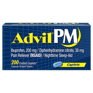 Advil PM Pain Reliever + Nighttime Sleep Aid Caplets - 200 CT - 2022 EXP
