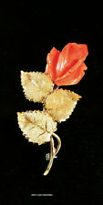18k SOLID GOLD ROSE BUD BROOCH ANGEL CORAL 2 1/2 x 1-1/8 INCHES  t/w 10.40gr