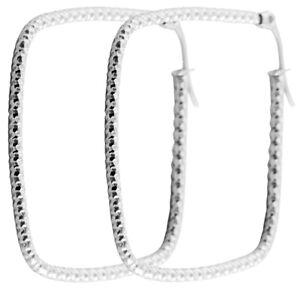 Quadratische Creolen, 40mm aus Edelstahl in Silber, ausgefallene Ohrringe Eckig