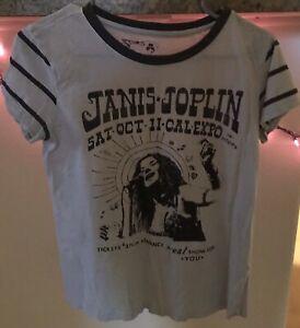 Lucky Brand Janis Joplin Shirt, Women's XS, Striped Sleeves, Classic Rock, 1969