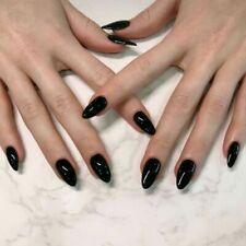 Pointed Dark Black Designed Solid Fake Nail Art Acrylic Artificial False Nails