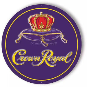 Metal Tin Sign round crown royal  Bar Pub Retro Poster 30cm diameter
