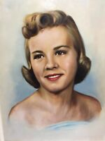 """Portrait Painting Pretty Blond Girl Brown Eyes Unsigned 14 x 18"""" Vintage 1950s"""