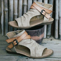 Women's Ladies Strappy Gladiator Sandals Roman Peep Toe Shoes Buckle Slippers