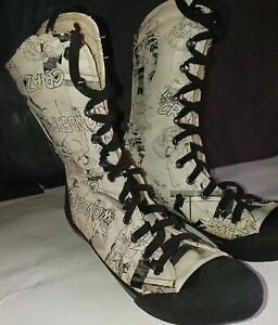 Women's Boxing Wrestling Shoes High Top Cartoon Print Faux Leather Sz 7.5 Eur 38