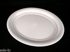 BULK 12 Large White Plastic Serving Platter Catering Party Oval Plate 48cmx 36cm