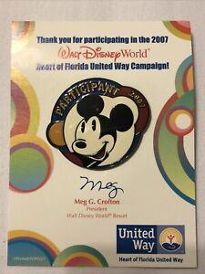 Disney Pin Walt Disney World Participant United Way 2007 Mickey Mouse