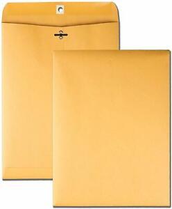 Brown Kraft Catalog Clasp Envelopes,Gummed Seal, 9 x 12, 10 Each.